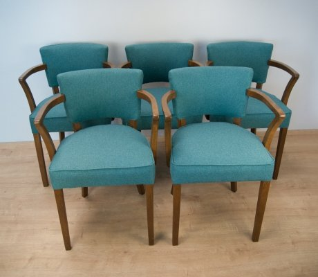 Set of 5 French Art Deco Chairs, 1930s