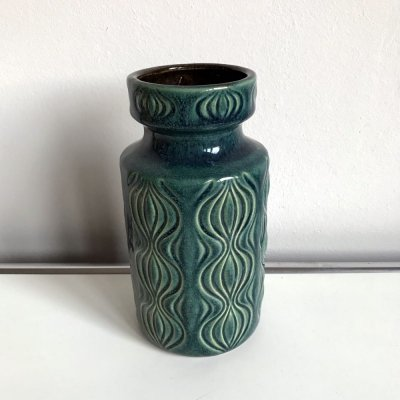 Aqua glazed West German Vase with abstract lava design