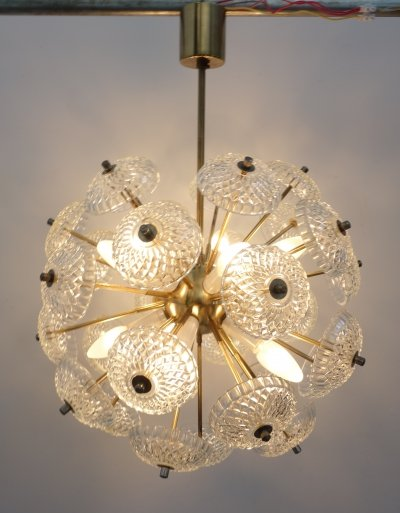 Czech Glass pendant lamp by Kamenický Šenov, 1960s