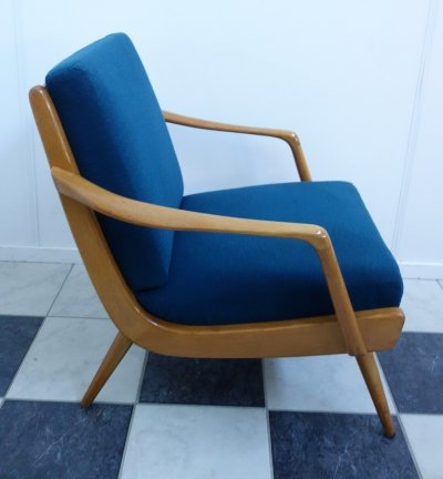Blue fabric & wood frame chair, 1950s