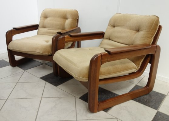 Set of 2 teak relax chairs, 1970s