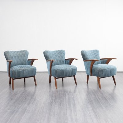 3 x Original 1950s easy chair in blue fabric
