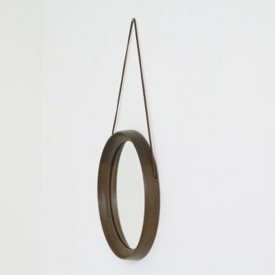 Wenge & leather wall mirror by Uno & Östen Kristiansson for Luxus, Sweden 1960s