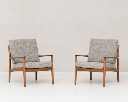 Set of 2 easy chairs by Grete Jalk for Glostrup, Denmark 1960's