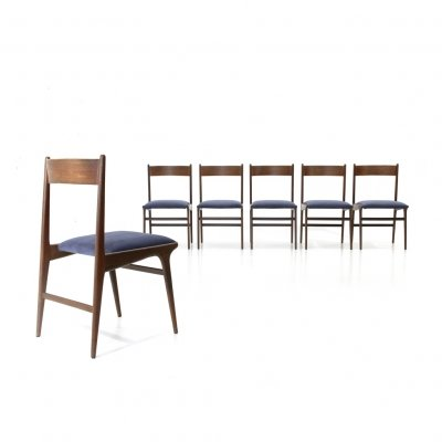 6 wood & blue velvet Italian dining chairs, 1950s