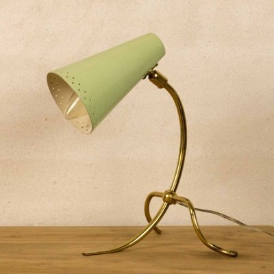 Enameled metal & brass table lamp, 1960's