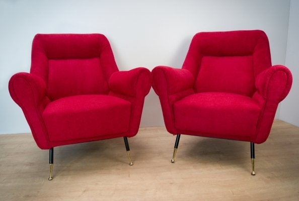 Pair of Italian Mid-Century Armchairs by Gigi Radice for Minotti, 1960s