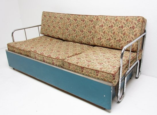 Bauhaus Chromed folding sofa bed from, Czechoslovakia 1930s