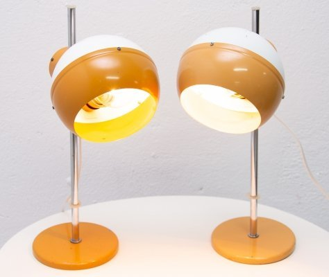 Pair of mid century space-age positioning desk lamps for Drukov, 1970s
