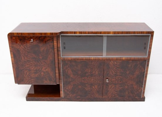 Bohemian Art Deco Walnut Sideboard or Buffet, 1930s