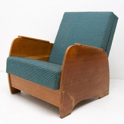 Art Deco adjustable armchair, 1940s