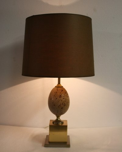 Pair of ostrich egg table lamps, 1960s