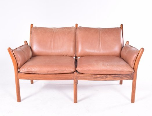 Midcentury Danish Rosewood & Leather Sofa by Illum Wikkelsø for CFC Silkeborg