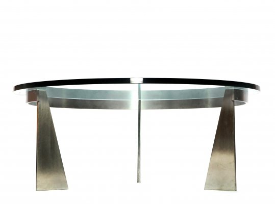 Round Glass Chrome Vintage Coffee Table from Metaform, 1980s