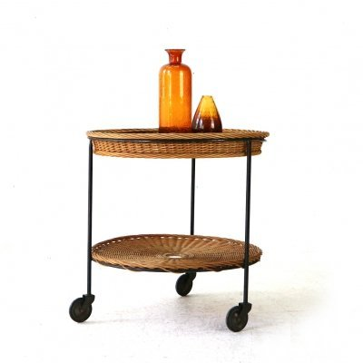 Small '60s Serving Cart in Wicker & Steel