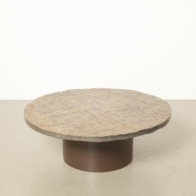 Solid rough natural stone / flagstone coffee table