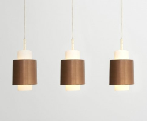 3 copper pendant lamps with opal glass shade, 1960s