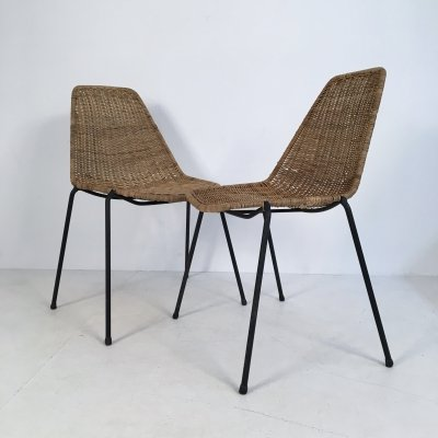 Pair of Italian Wicker & Iron Chairs by Campo & Graffi for Home Torino, c.1950