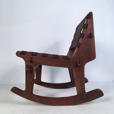 Walnut & Leather Rocking Chair by Angel Pazmino for Muebles de Estilo, c.1960