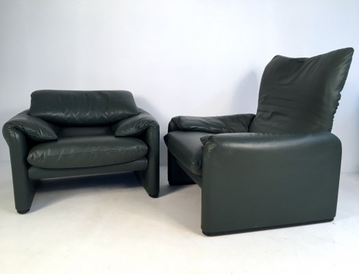 Pair of Leather 'Maralunga' Lounge Chairs by Vico Magistretti for Cassina