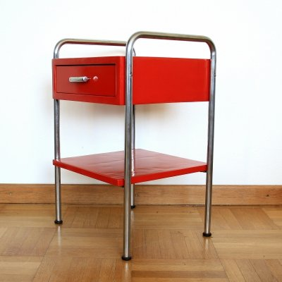 Red functionalist side table, Czechoslovakia