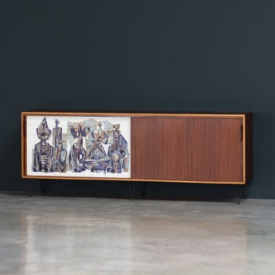 Alfred Hendrickx for Belform Sideboard with Willy Meysmans Ceramic