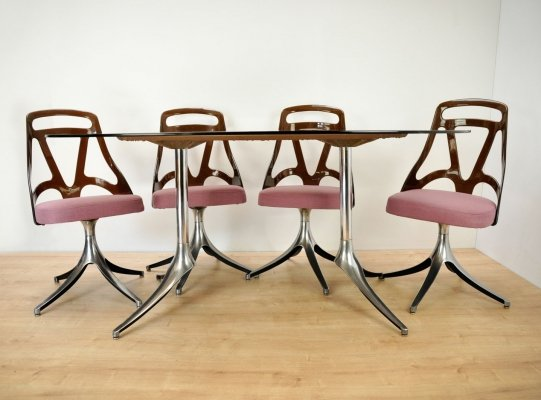 Italian Dining Table & 4 Swivel Chairs, 1960s