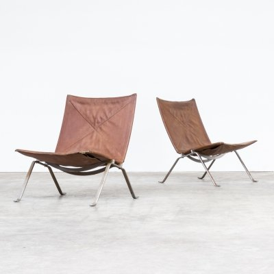 Pair of Poul Kjaerholm PK22 cognac leather chairs for E. Kold Christensen, 1960s