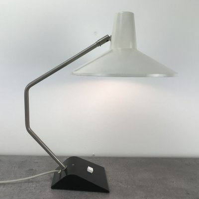 Rare white shade desk lamp by JJM Hoogervorst for Anvia Almelo