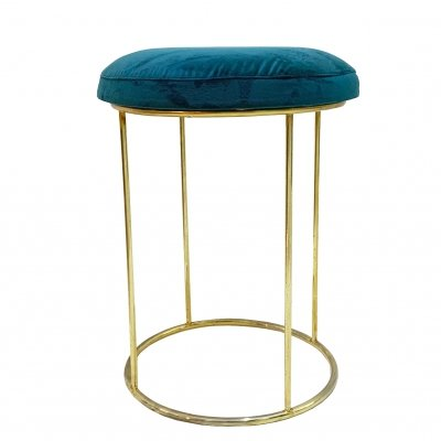 1970's Gilded Metal Stool with teal Green Velvet Seat