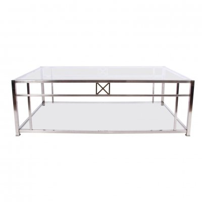 Large Glass & Chrome Coffee Table