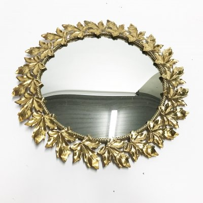 Vintage brass gold leaf mirror, 1960s