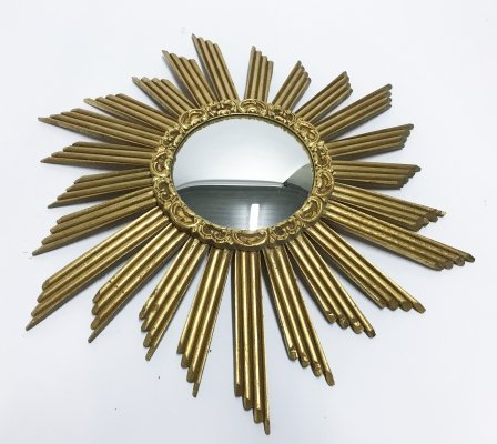Large wooden sunburst mirror, 1960s