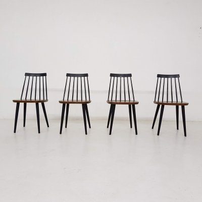Set of 4 Yngve Ekstrom for Nesto / Pastoe spindle back chairs, Sweden 1960's