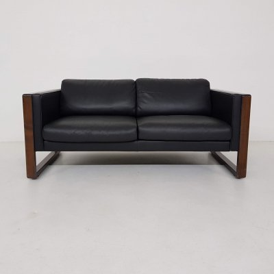Black leather two-seater sofa by Walter Knoll , Germany 1970's