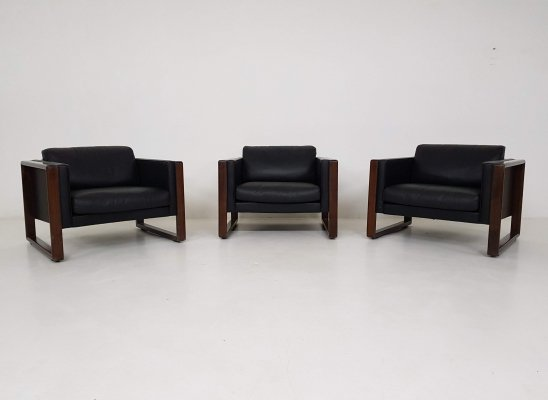 3 leather Walter Knoll lounge chairs, Germany 1970's