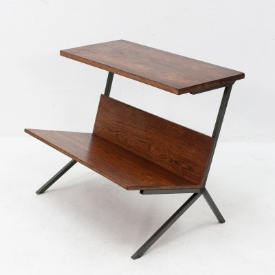 Rosewood & metal magazine table, 1960s