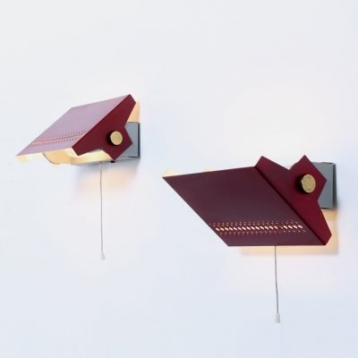 Bordeaux red & brass sconces, 1950s