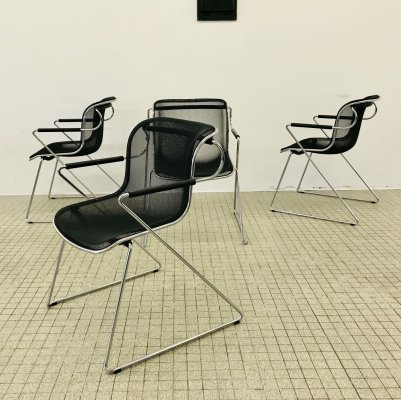 4x vintage design Castelli 'Penelope' dining chairs by Charles Pollock, 1982