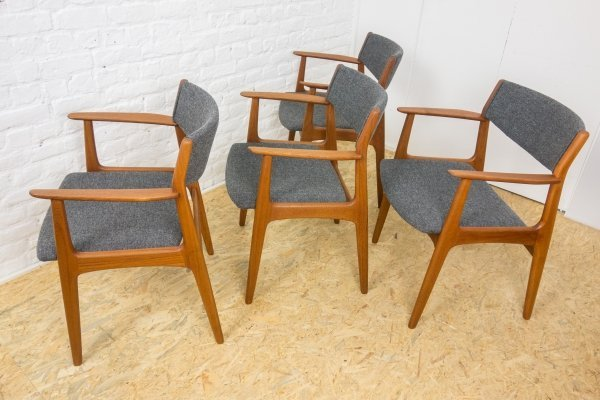 4 teak chairs with armrests by Soro stolefabrik