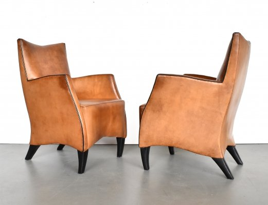 Pair of Bart Van Bekhoven lounge chairs, 1990s