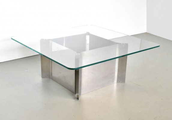 Square coffee table with thick glass top & chrome base, 1970s