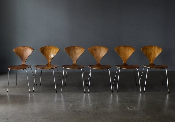 Set of 6 Metal Base Cherner Chairs by Norman Cherner for Plycraft, 1960s