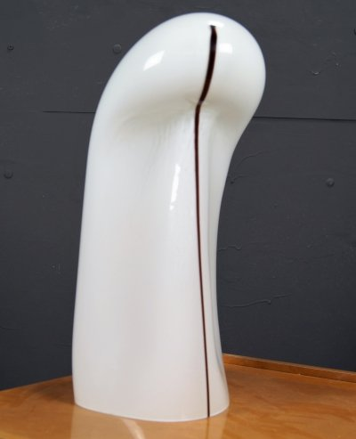 Hand blown white opaque glass 'ghost' lamp by Gino Vistosi