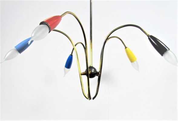 5 armed brass Stilnovo pendant light, 1950s