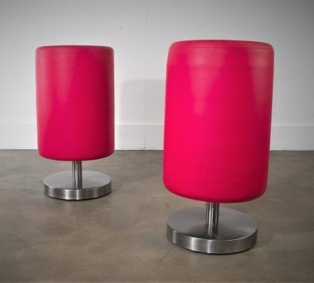 Pair of Red Stool Bar Poofs, 1990s
