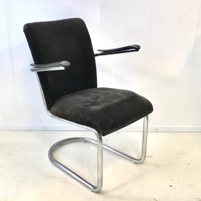 Chromed Tubular Frame 1019 chair by De Wit
