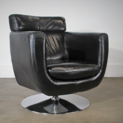 Genuine Leather Swivel lounge chair, 1980s