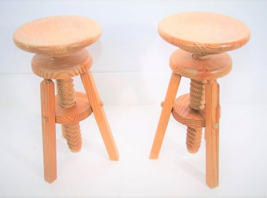 All Pinewood Corkscrew stools, 1960s