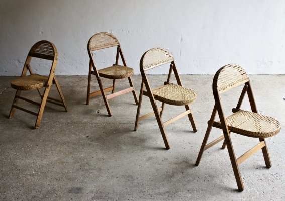 Set of 4 Hand Made Cane Folding Chairs, 1920s